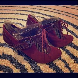 Guess gwopallo red multi suede booties